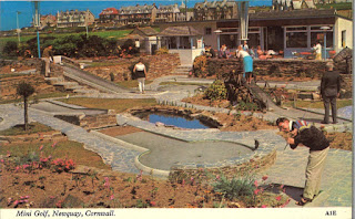 Postcard of the Mini Golf course in Newquay, Cornwall (A1E). Harvey Barton Viewcard. Postally unused
