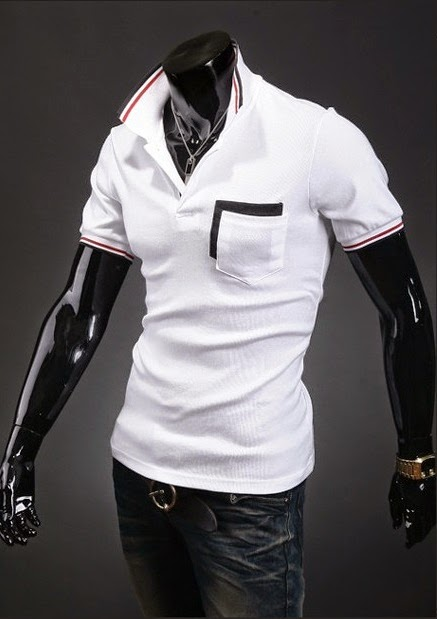 Camisa Polo Casual - Detalhes na Gola, Mangas e Bolso - Branca