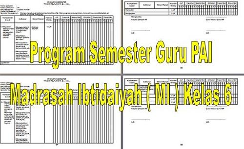 Program Semester Guru PAI Madrasah Ibtidaiyah ( MI ) Kelas 6
