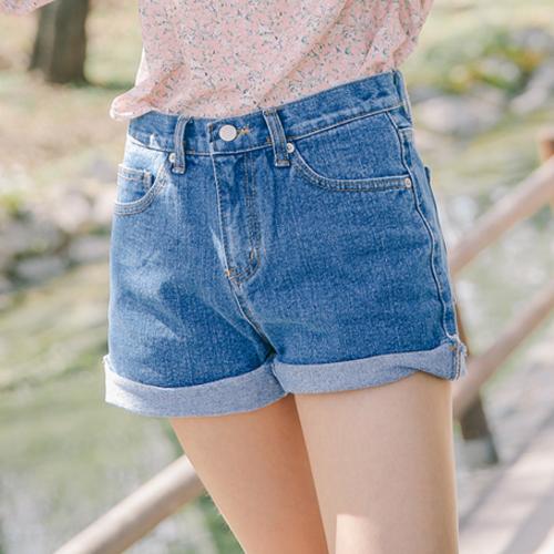 Cuffed Thigh-Length Denim Shorts