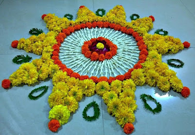 Rangoli Designs with Flowers for Diwali