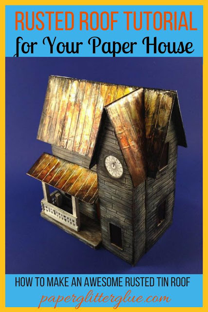 Rusted Tin Roof Halloween House made of cardboard and paper for Halloween decor #putzhouse #halloweenhouse #howtomakehalloweenhouse