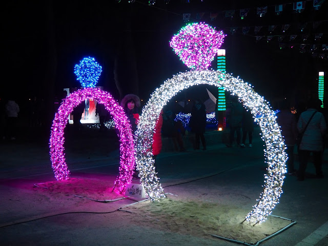 Matching diamond rings display at the Light Festival at the Yulpo Beach area of Boseong Green Tea Plantation, South Korea