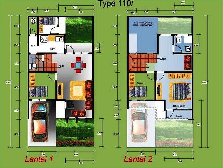 Contoh Gambar Denah Rumah Minimalis 2 Lantai Mewah