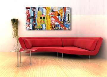 urban art, abstract art, wall art, contemporary, canvas art, modern, panoramic, large artwork, artist, Sam Freek, industrial abstract art,