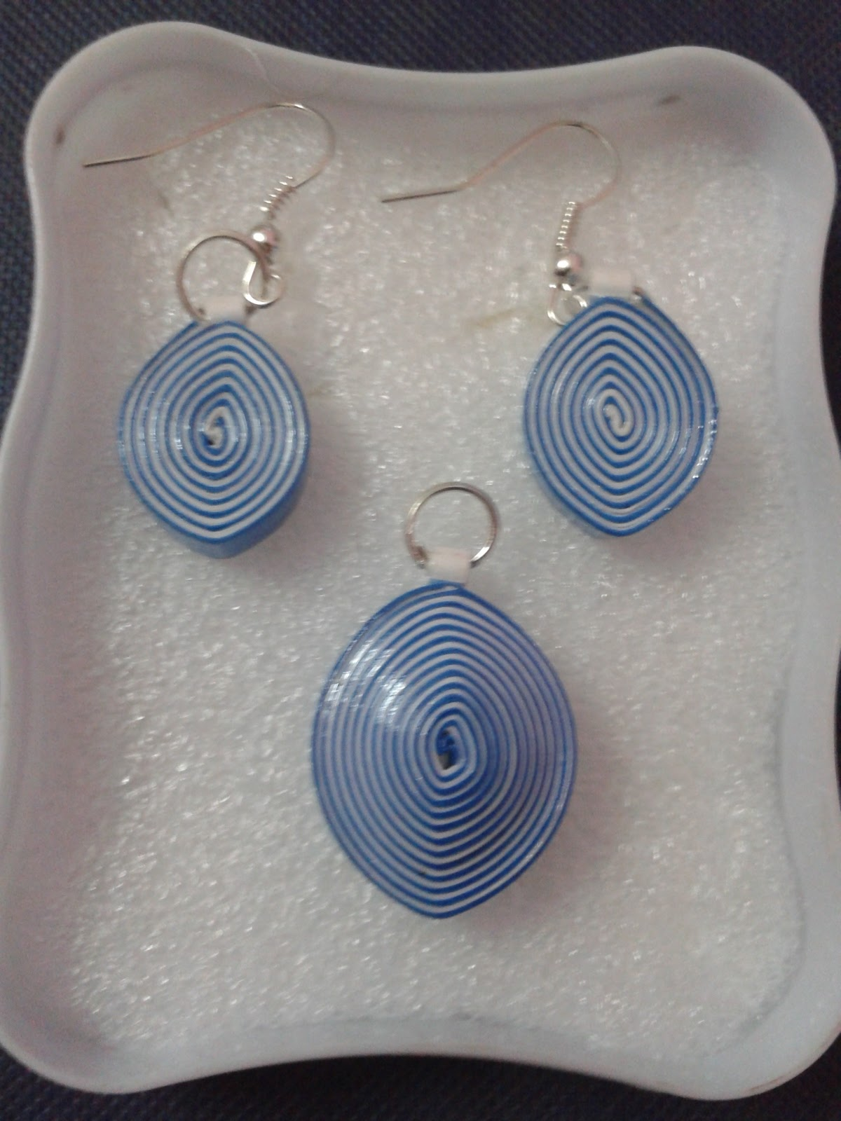 Paper Craft Ideas Blue And White Combination Quilling Earrings