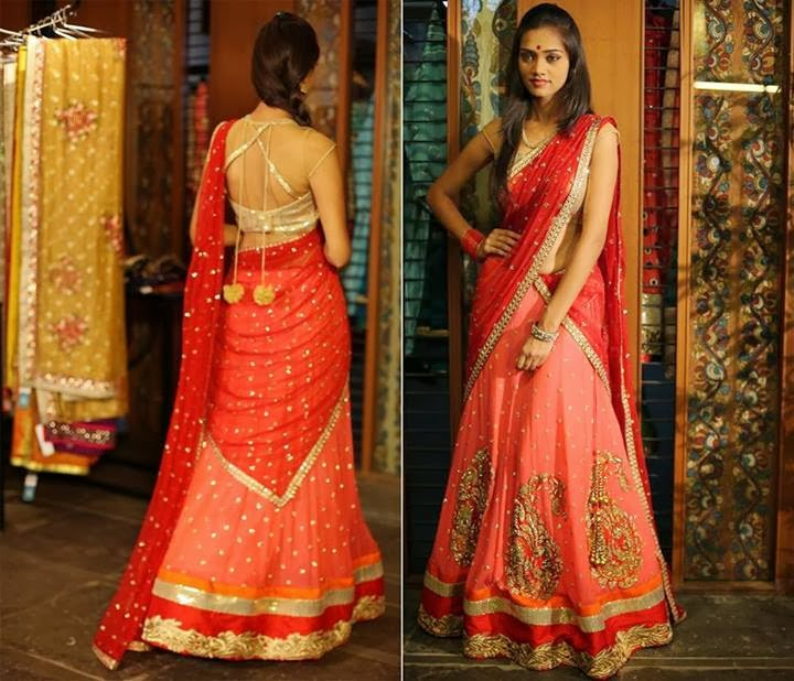 Designer Half Saree by Bhargavi Kunam –South India Fashion