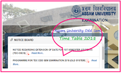 Assam University 1st Sem 3rd Sem 5th Sem Exam Routine 2018