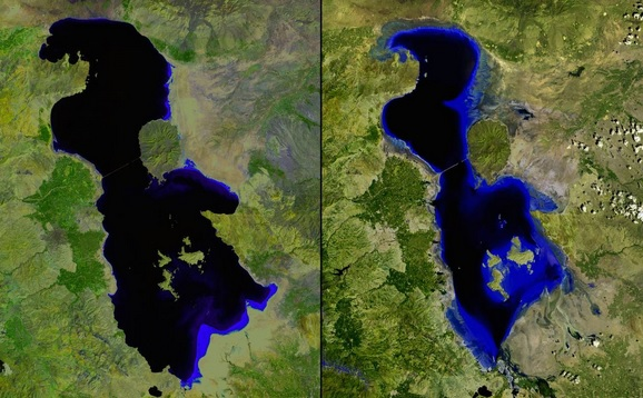 You Still Think Climate Change Is A Hoax These 20 Before-And-After Photos Will Leave You Speechless! - SHRINKING LAKE URMIA, IRAN, JULY 2000 AND JUNE 2013