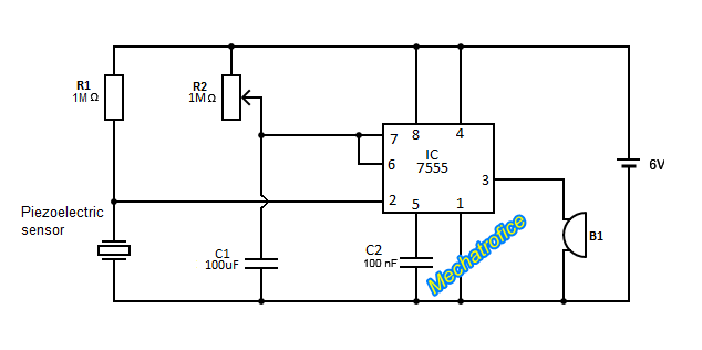 touch alarm using piezoelectric sensor