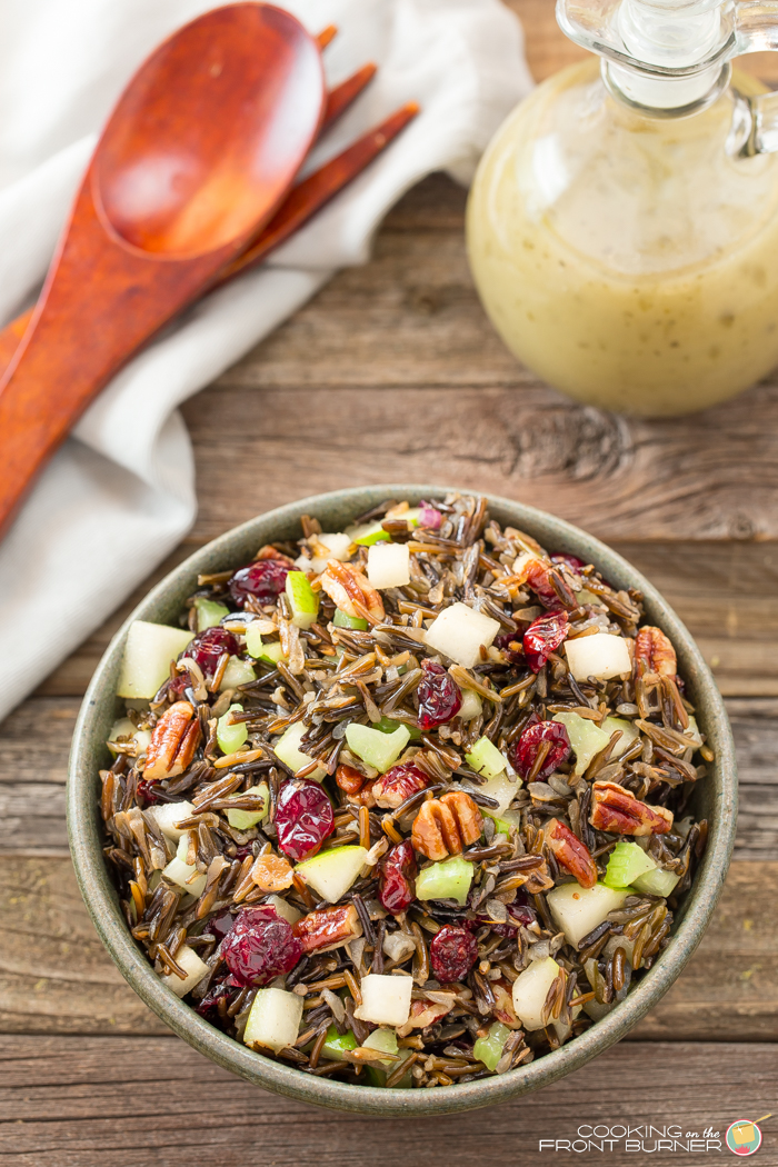 This Wild Rice salad is loaded with juicy pears, crunchy pecans, sweet craisins and is melded together with a honey vinaigrette dressing.