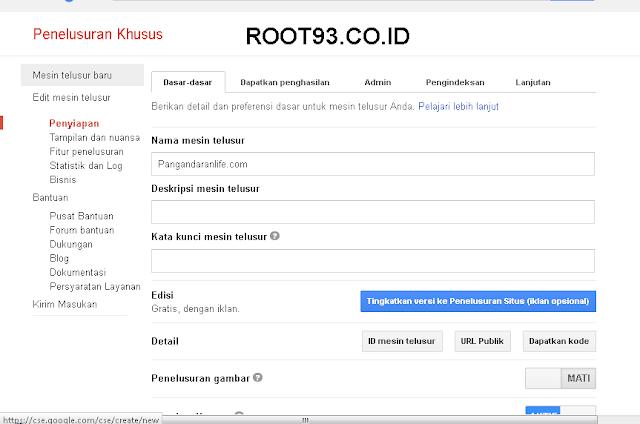 Menambahakan Gooogle Custom Search 4