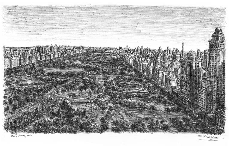 08-Central-Park-39-th-floor-Helmsley-Park-Lane-NY-Stephen-Wiltshire-Urban-Drawings-from-Memory-with-Detailed-Cityscapes-www-designstack-co