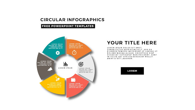Circular Infographics Free PowerPoint Template with icons and 6 steps