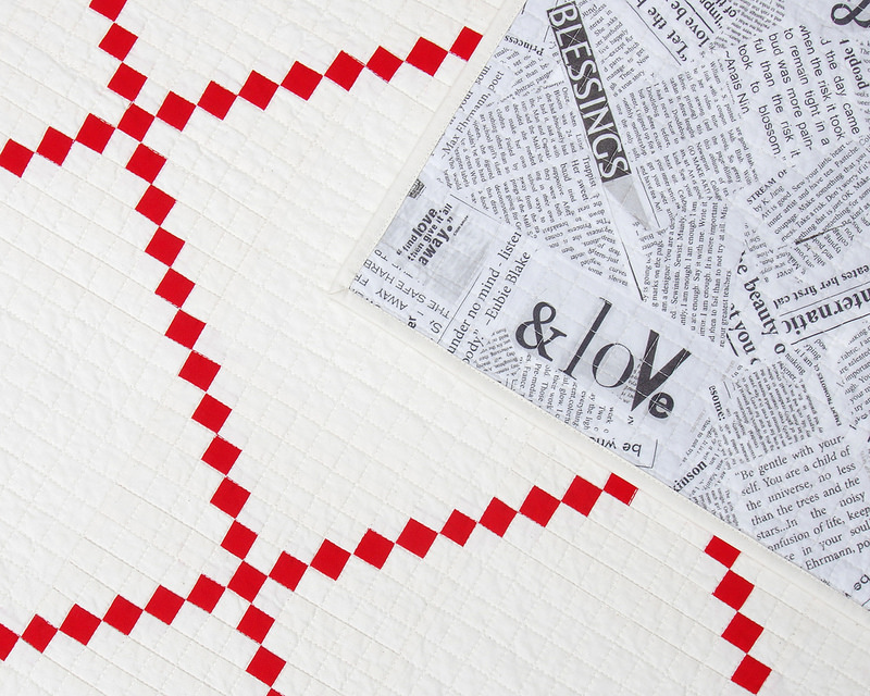 Red and White Irish Chain Quilt - backing fabric | © Red Pepper Quilts 2017