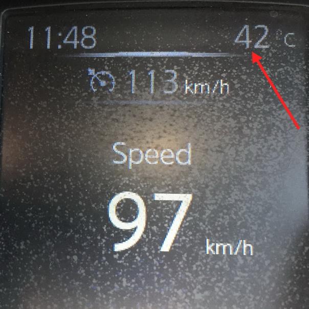 42, Grad, Celsius, heiss, Ostküste, Geschwindigkeit, 97, kmh, speed, Temperatur, Anzeige, Auto