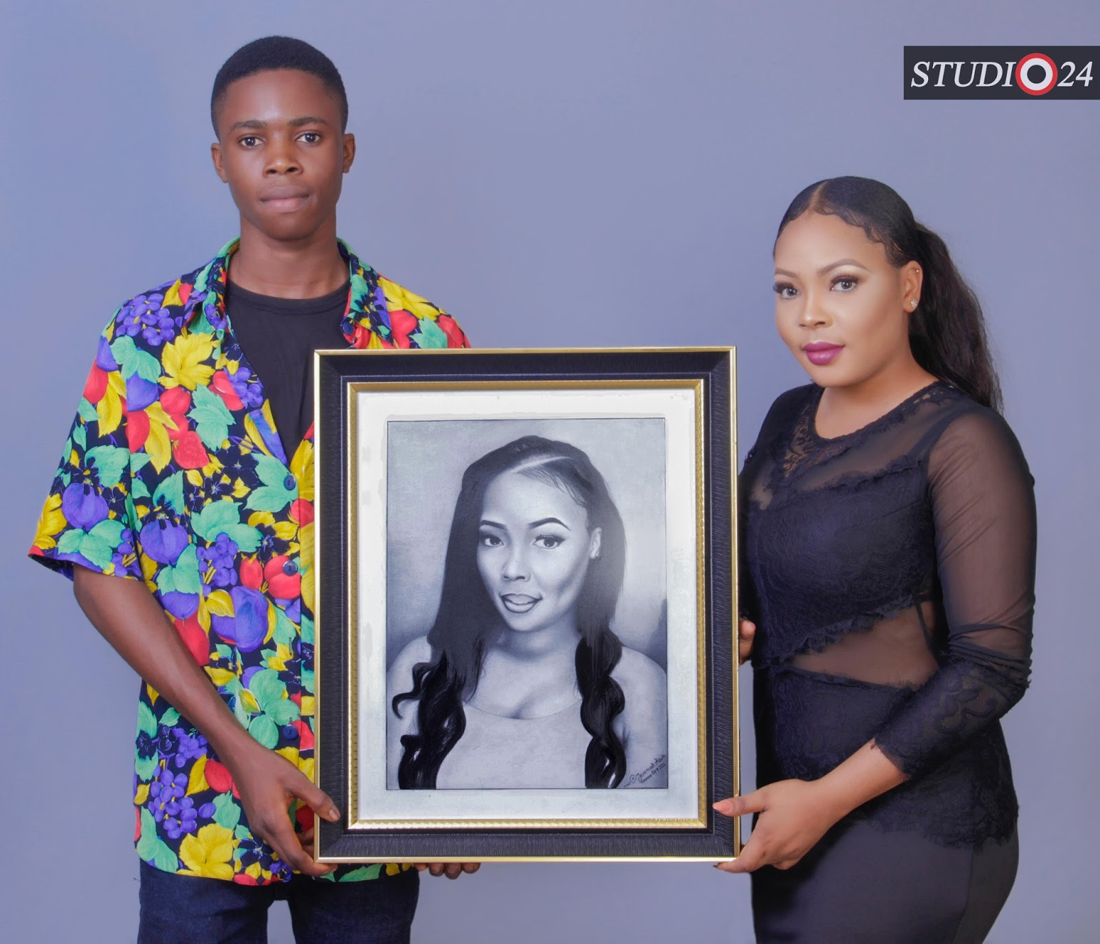 Nigerian leading secondary school pencil artist jeremiah abuh presented the port harcourt based beauty queen nneke somto winner face of candycity nigeria