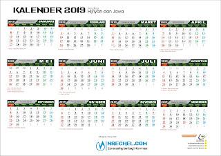 Template kalender 2019 gratis lengkap dengan hijriyah dan jawa