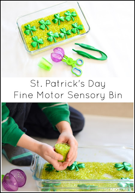 St. Patrick's Day fine motor sensory bin for kids from And Next Comes L