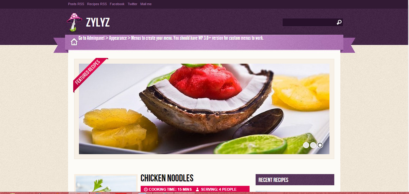 Zylyz free premium wordpress food blog theme