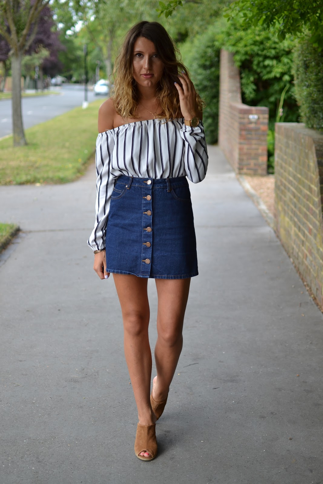 0a8f7896a77 Two of my favourite items from my summer wardrobe combined into one outfit....what's  not to love?! This Missguided bardot playsuit (worn here as a top) was ...