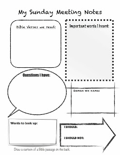 My Sunday Meeting Notes for kids | scriptureand.blogspot.com