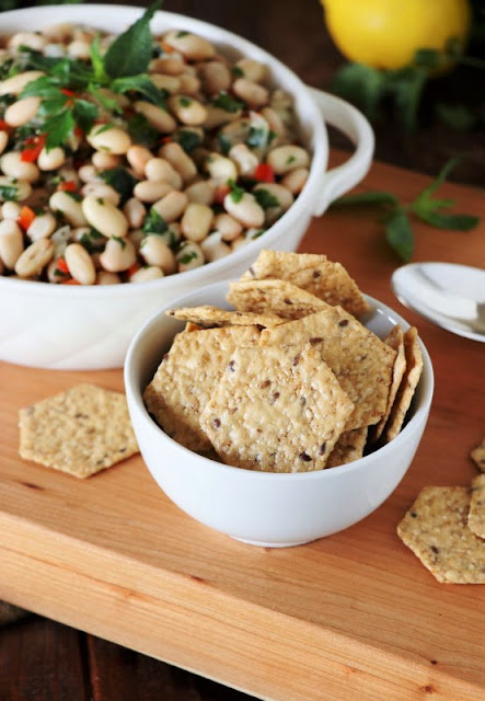 Lemony White Bean Salad with Crunchmaster crackers.