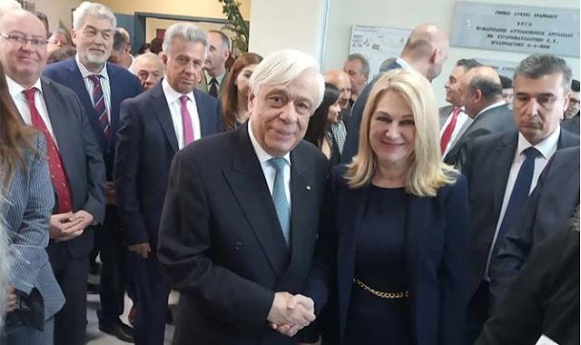 Ο Πρόεδρος της Δημοκρατίας με την Υπ. Περιφερειακή Σύμβουλο Αργολίδας Ελένη Ζαφειροπούλου-Μουταφίδη στο Κρανίδι