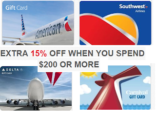 Coupons And Freebies: 15% off $200 Travel Gift Cards: $200 Gift ...