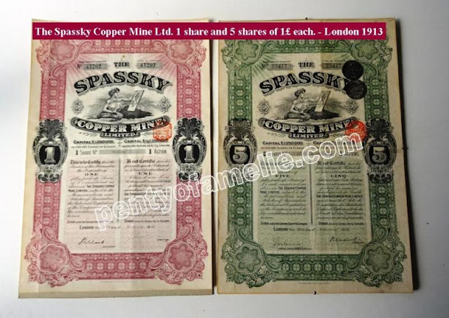 London 1913 The Spassky Copper Mine Ltd. including 1 share and 5 shares of £1 each in nice condition
