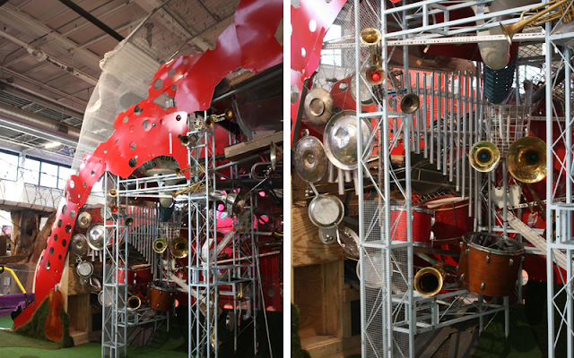 Musical instruments woven into Music Mountain.