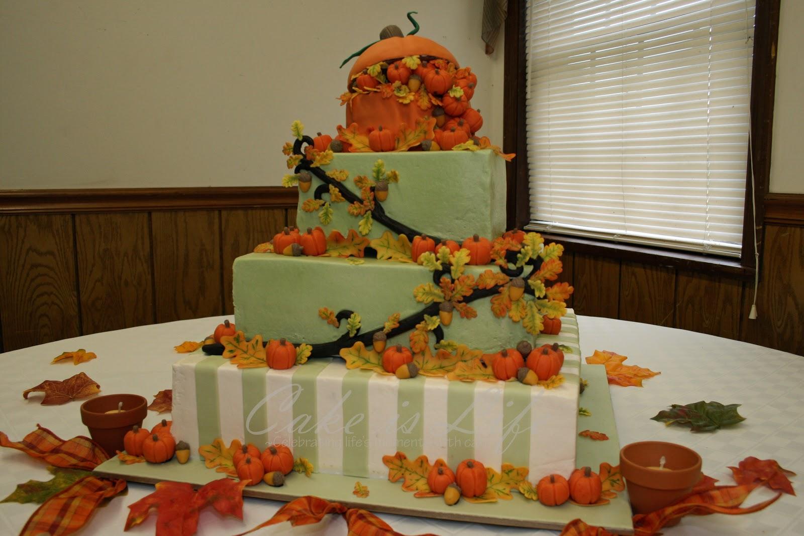 Autumn Vanilla Picture Autumn Themed Wedding Cakes
