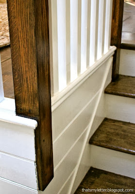 railing makeover with stain and painted walls