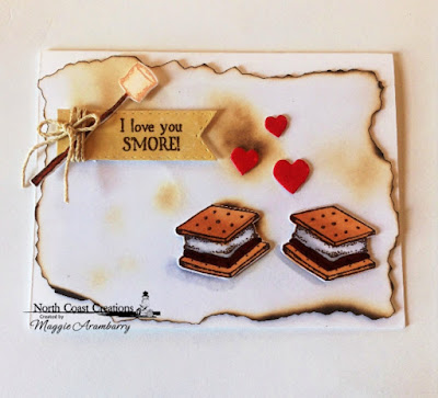 North Coast Creations: S'more Love Stamp and Die, ODBD Custom Dies: Double Stitched Pennant Flags, North Coast Creations Paper Collection: Sweet Shoppe