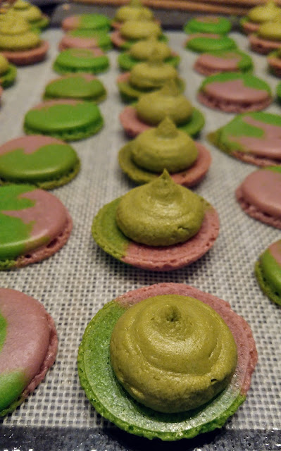 A tray of matcha raspberry macarons with the shells split, and the bottom shells have matcha buttercream piped on top.