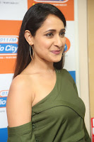Pragya Jaiswal in a single Sleeves Off Shoulder Green Top Black Leggings promoting JJN Movie at Radio City 10.08.2017 145.JPG