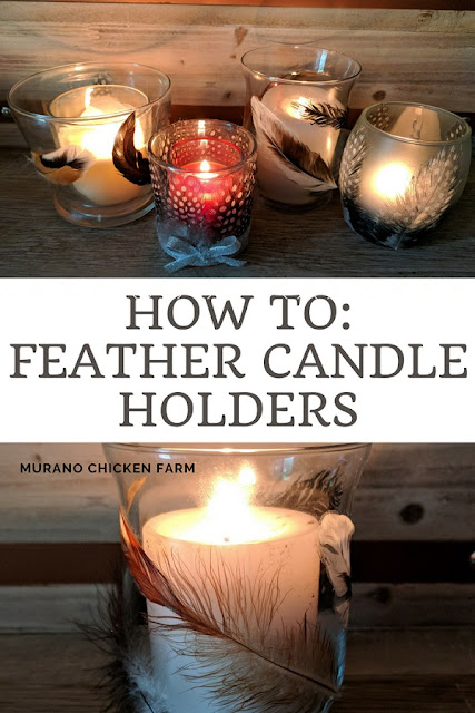 Feather candle holders DIY