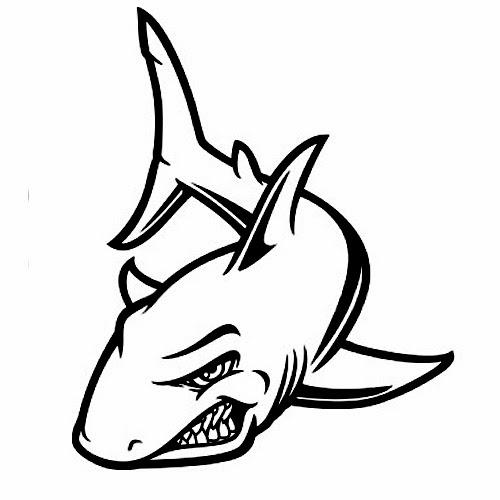 Shark cartoon tattoo stencil