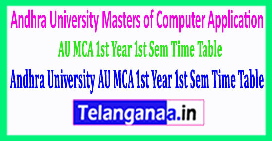 Andhra University AU MCA 1st Year 1st Sem Time Table 2018