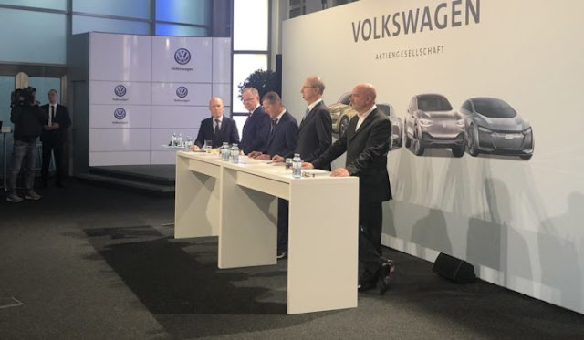 Volkswagen chiefs announcing the $50billion e-vehicle offensive