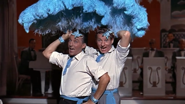"movie - White Christmas - Bob Wallace and Phil Davis lip-sync to ""Sisters"" by the Haynes"