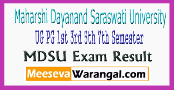 MDSU Maharshi Dayanand Saraswati University UG PG 1st 3rd 5th Semester Exam Result 2017-18