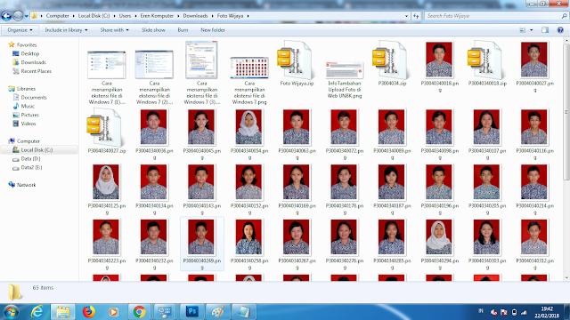 Tampilnya ekstensi file di Windows 7
