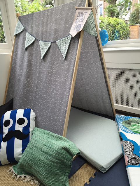 Studio Mojo, kussen, DIY speelhoek, zelf een speelhoek maken, Gemaakt/ DIY, mat wordt kussen, naaien, badmat, Sostrene Grene,