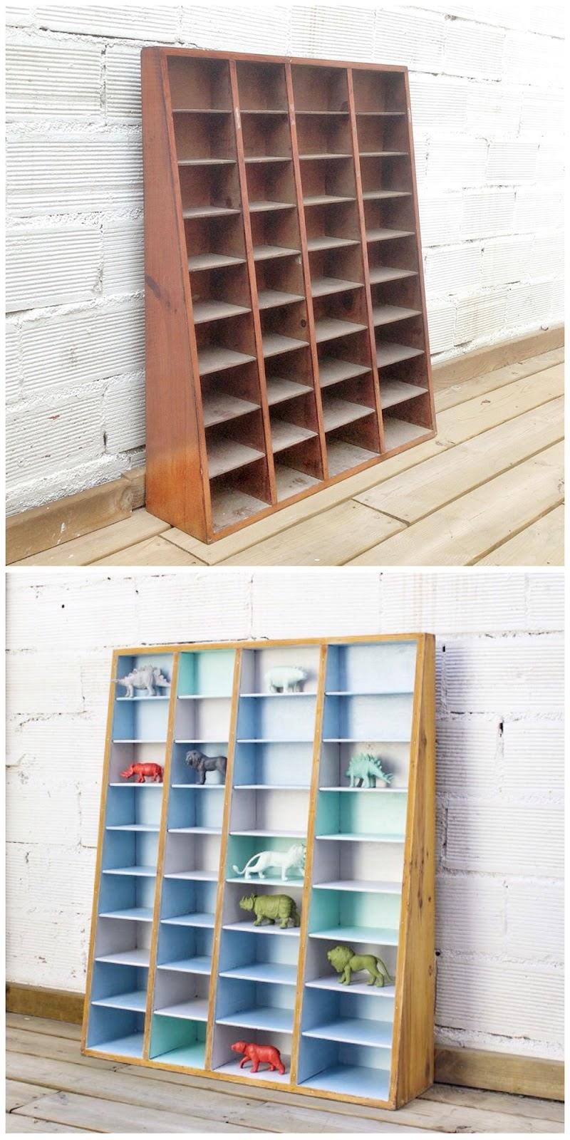 Antes y después - Un estante casillero organizador con juegos de colores - azul, verde y gris