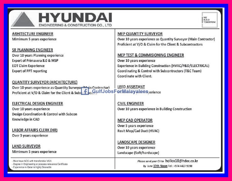 hyundai engineering construction company ltd qatar job vacancies