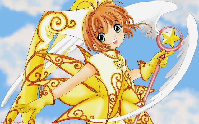 Ảnh hoạt hình nữ Sakura dễ thương trong thủ lĩnh thẻ bài