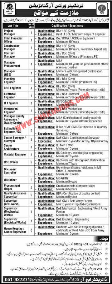 Frontier Works Organization FWO Jobs March 2020 (44 Posts)