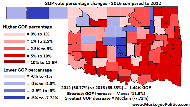 Maps 2012 and 2016 Oklahoma presidential results compared