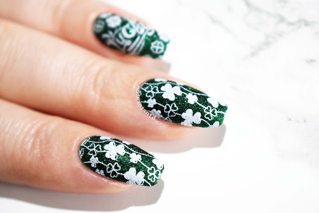 St. Patrick's Day nails using Beauty Big Bang XL-067 Zoya Elphia